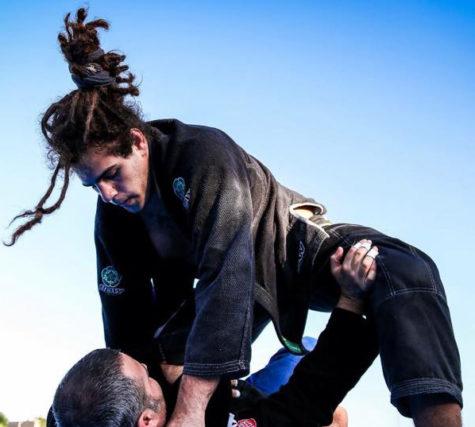 Student training in jiu-jitsu