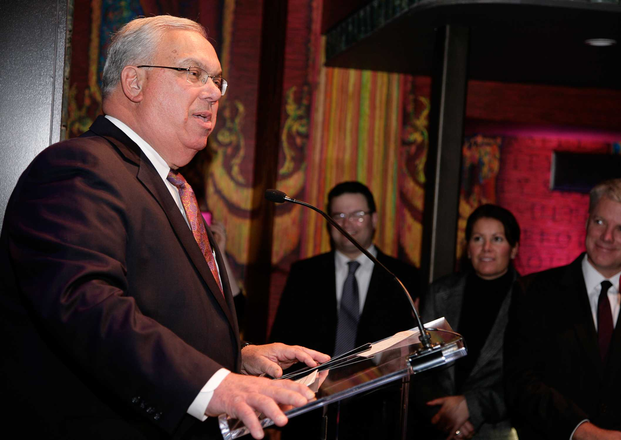 Menino speaking at the Modern Theatre in 2010