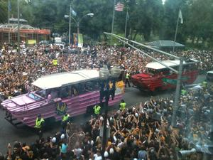 The city of Boston has held seven championship victory parades since 2001, with the most recent being the Bruins victory parade (pictured above) this past June.