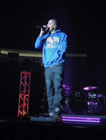 J. Cole performs to students in Lowell