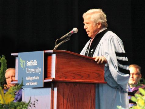 CAS Commencement speaker Robert Kraft (Photo by Ally Thibault)