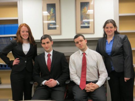 2013-2014 Executive Board: (from left to right) Treasurer Sabrina Chartrand, President Benjamin Chertok, Vice President Lane Dubreuil, Secretary Sarah Fraenkel (Photo courtesy of Mock Trial's Facebook page)
