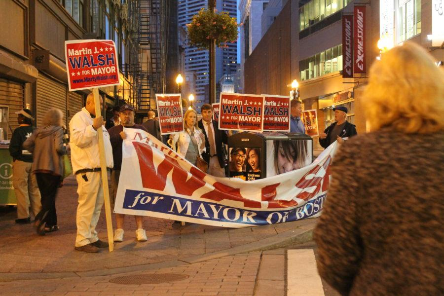 Marty Walsh supporters outside the Modern Theatre before the September debate