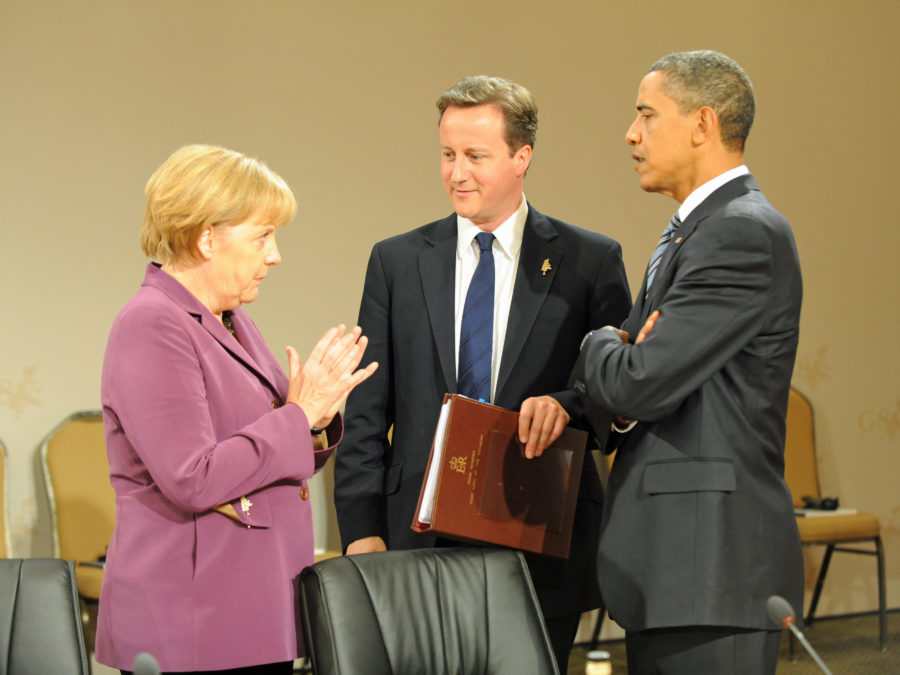 (From left to right) German Chancellor Merkel, UK Prime Minister Cameron, President Obama (Photo by Flickr user The Prime Minister's Office)