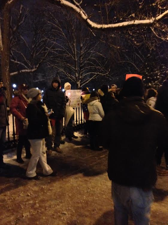 Protestors rallying in the Public Garden (Photo by Will Senar)