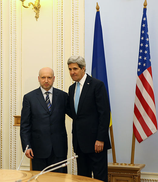 Interim Ukrainian president Oleksandr Turchynov meets with U.S. Secretary of State John Kerry. Turchynov announced the recent military operation.