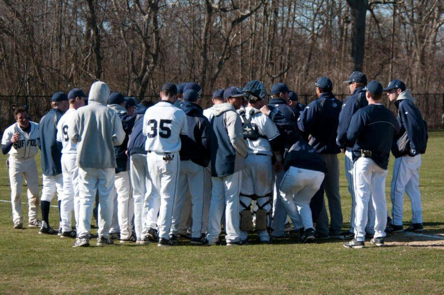 Rams strategize before an important conference game against Johnson & Wales. (Photo courtesy of Suffolk Athletics)