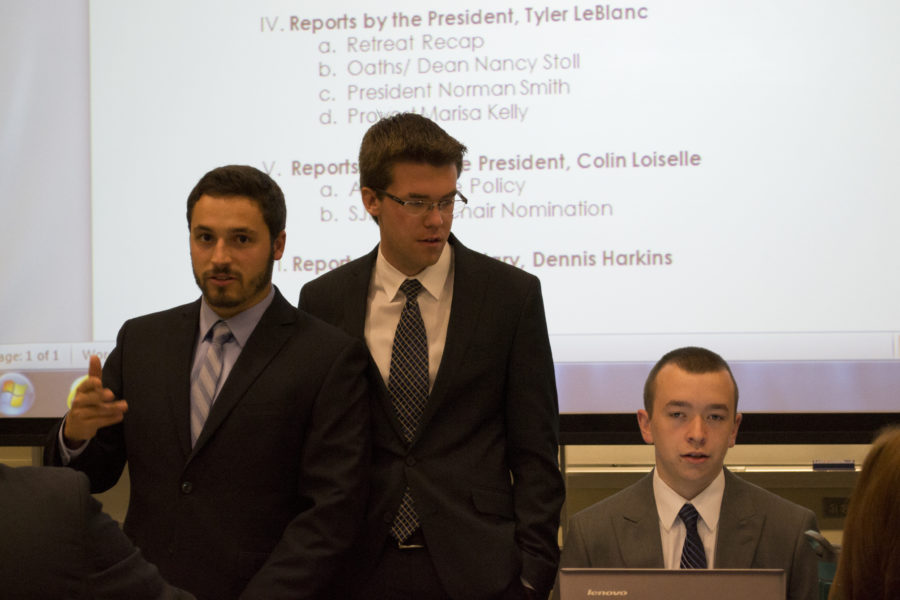SGA President Tyler LeBlanc, Secretary Dennis Harkins, and Vice President Colin Loiselle.