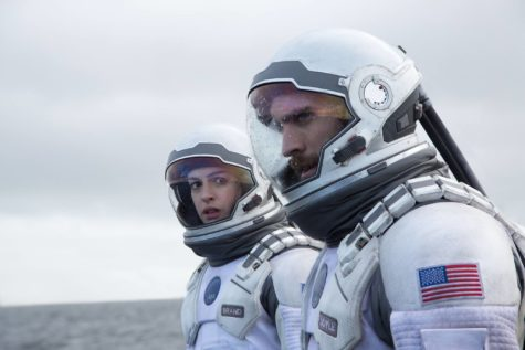 Anne Hathaway and Wes Bentley, above, portray astronauts who embark on a voyage to a new galaxy to save mankind.