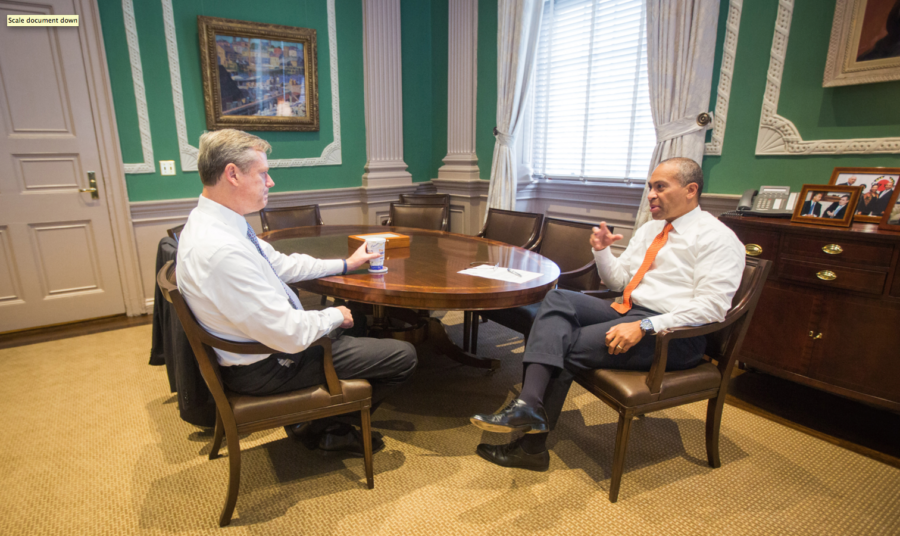 Courtesy of Flickr user Deval Patrick Charlie Baker (left) meets with Deval Patrick the day after he won the gubernatorial election. Patrick defeated Baker in the same race in 2010. Baker will succeed Patrick in January.