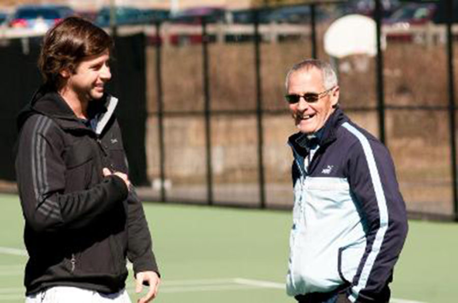 Calixto Romero (left) talking to Coach Counihan. 
