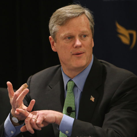 Governor Charlie Baker speaking at Suffolk Law School in February 2014. (Courtesy of Suffolk University)