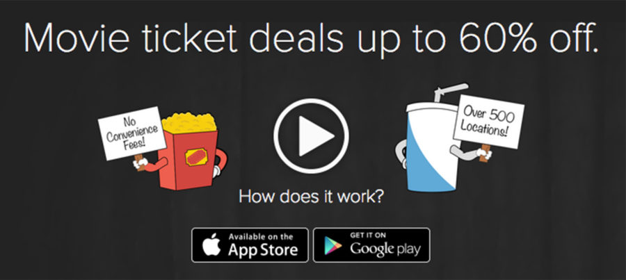 """First time users can receive $5 off their first ticket purchase with code """"SUFFDF5"""" at checkout and is valid until the end of December. Screenshot of Dealflicks.com."""