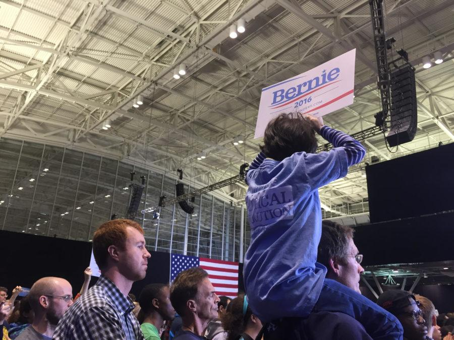 Sanders supporters flocked to hear his speech regading climate change, gun control, and tax reform. Courtesy of Maggie Randall