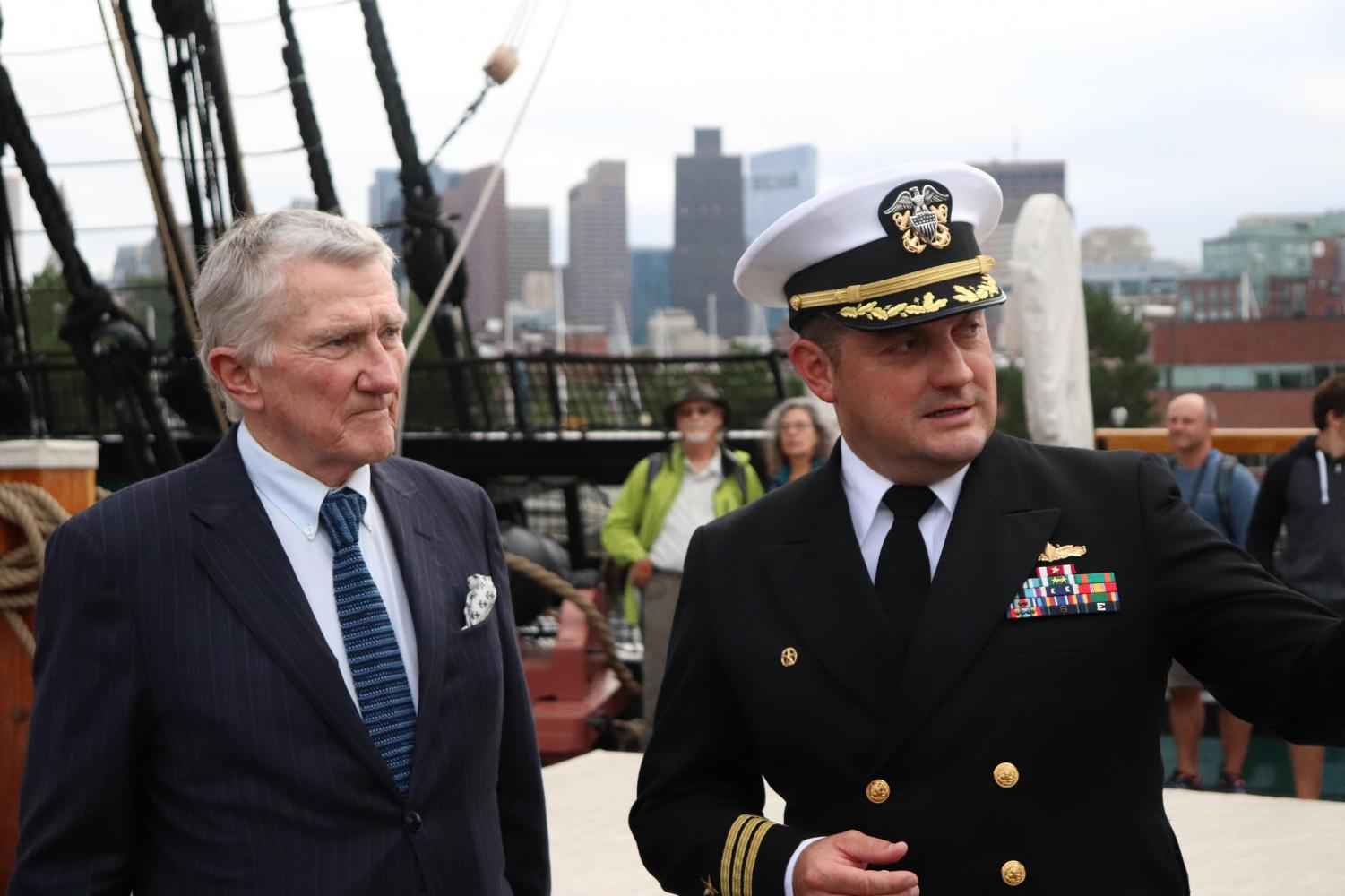 Former Navy Secretary John Lehman (left) with Commanding Officer Nathaniel R. Shick