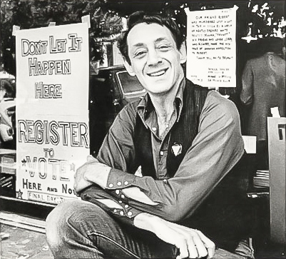 Harvey Milk in front of Castro Camera on Castro Street, San Francisco 1977