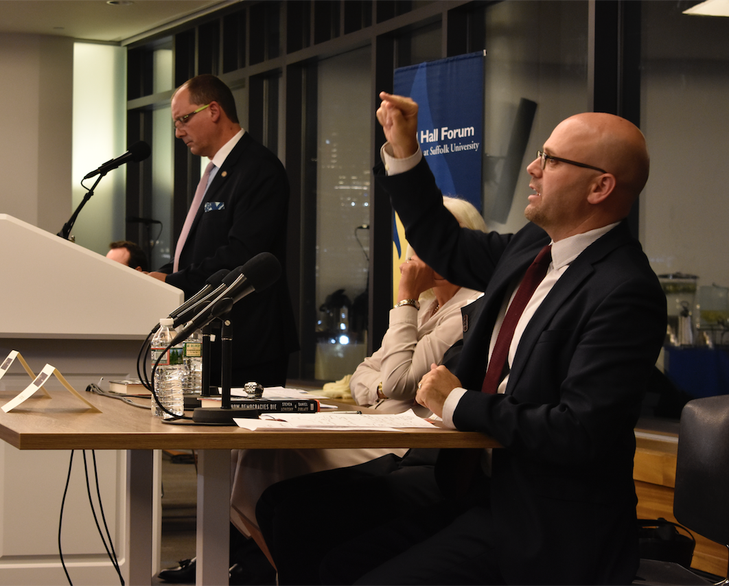 (From Left) Suffolk University Acting Provost Sebastian Royo and author Daniel Ziblatt, speak at the Ford Hall Forum event about threats to America's democracy