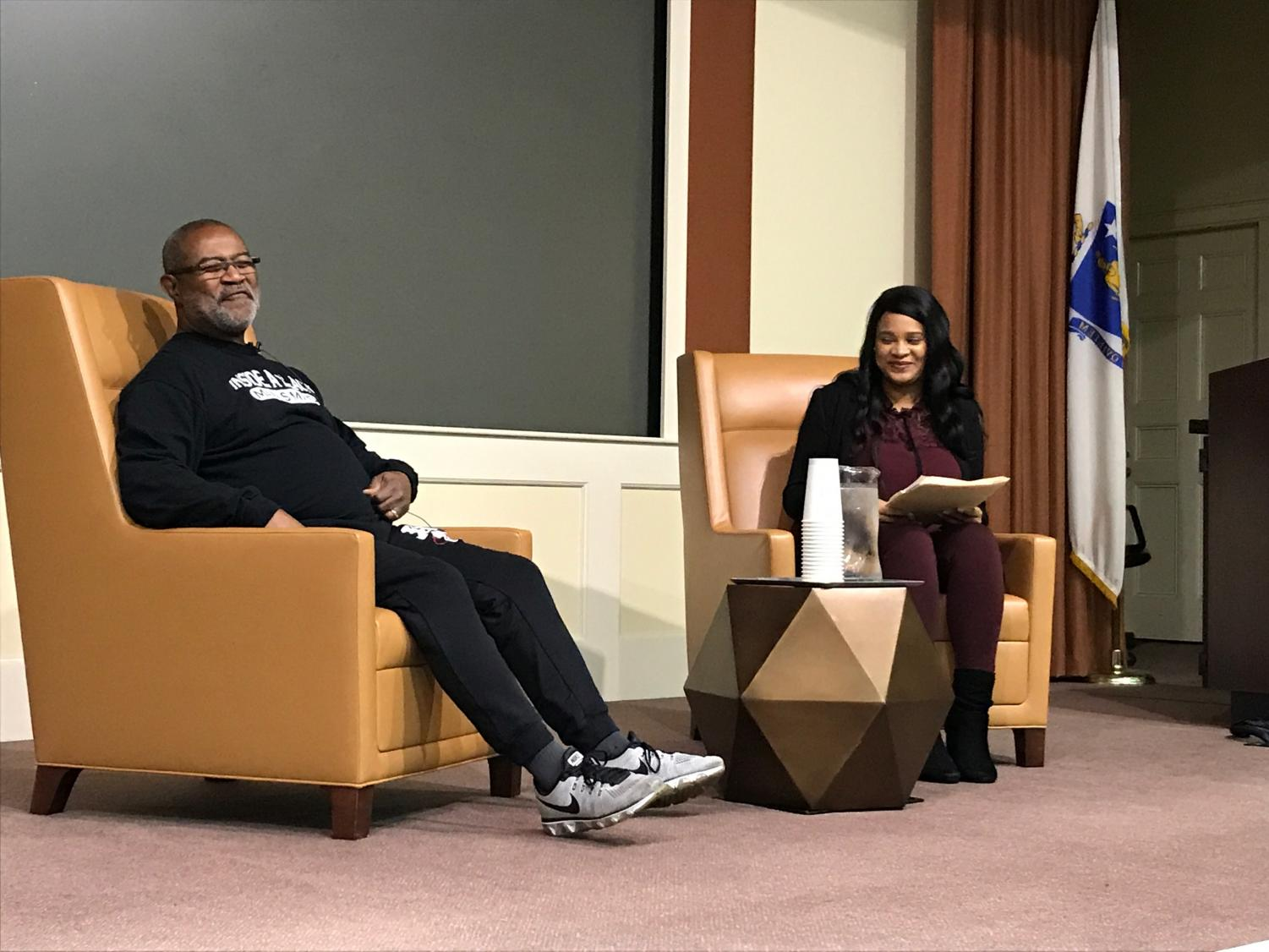 Ron Stallworth, the BlackkKlansman, is interviewed by Suffolk Student Jolice Grant