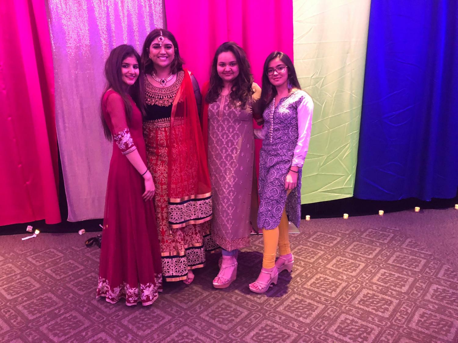 (left to right) Navya Rajoria, Treasurer; Tohfa Phonsia, President; Arushi Chauhan, Vice President; Dhwani Chheda, Secretary