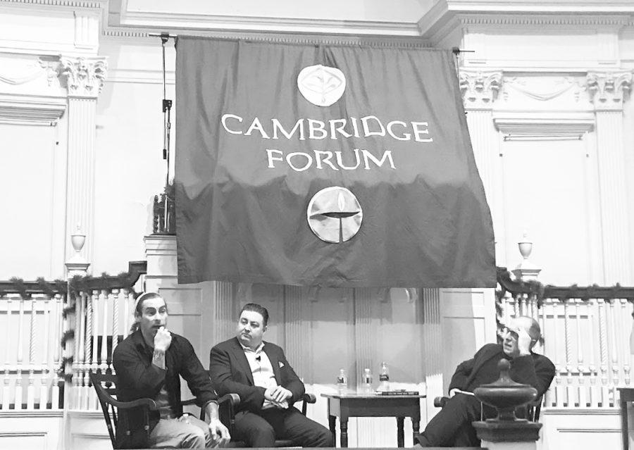 (From Left) Frankie Meeink, Tony McAleer and Micheal Kimmel gather in The First Parish church in Cambridge, MA