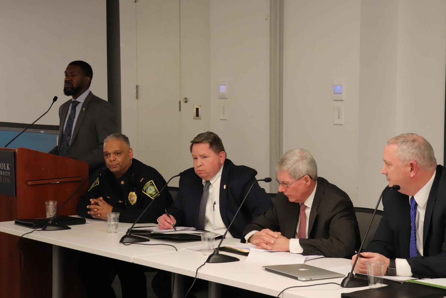 (From Left) Associate Dean of Students Shawn Newton, Lt. Ramón Nuñez, Cpt. Ken Walsh, Chief Gerard Coletta, Cpt. Tim Connolly
