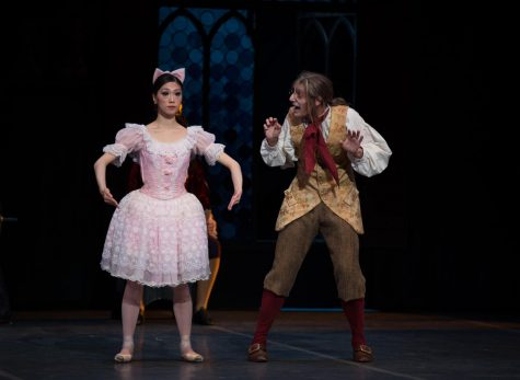 Misa Kuranaga starring in the role of Coppelia (left) and Boyko Dossev playing her inventor, Dr. Coppelius (right)