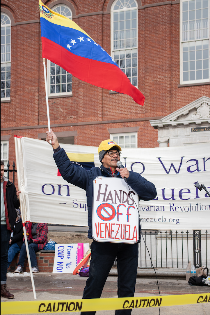 Protestors gather on the Boston Common in solidarity with the Venezuelan crisis