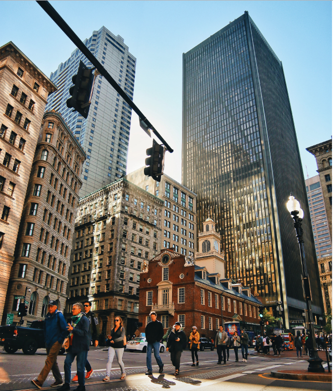 A view of Boston's Old Massachusetts State House