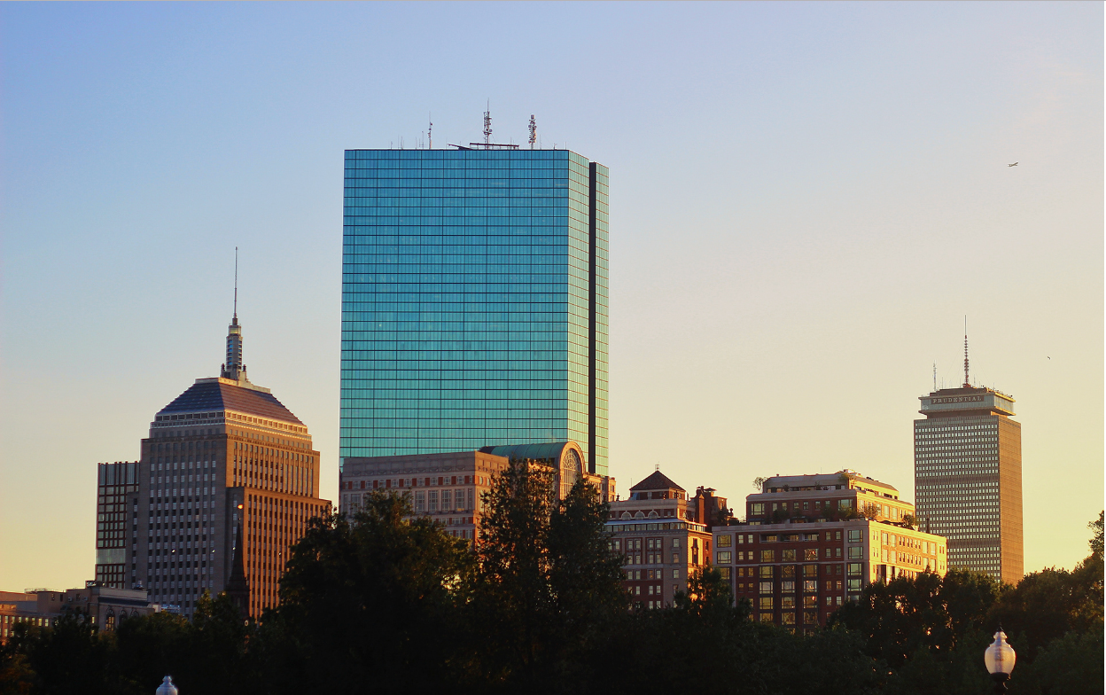 A view of Boston, with the Prudential building and Back Bay in the background