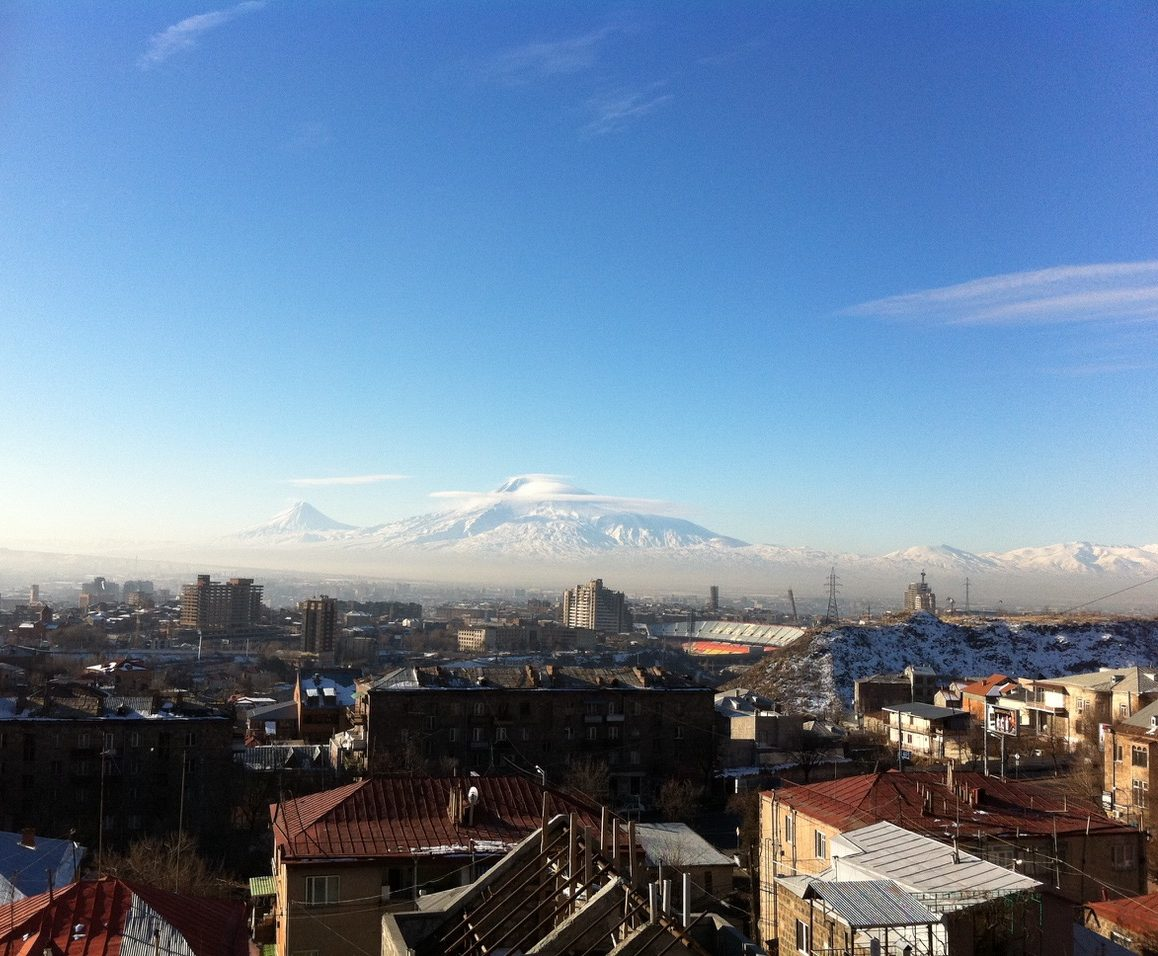 Mount Ararat and the city of Yerevan, Armenia