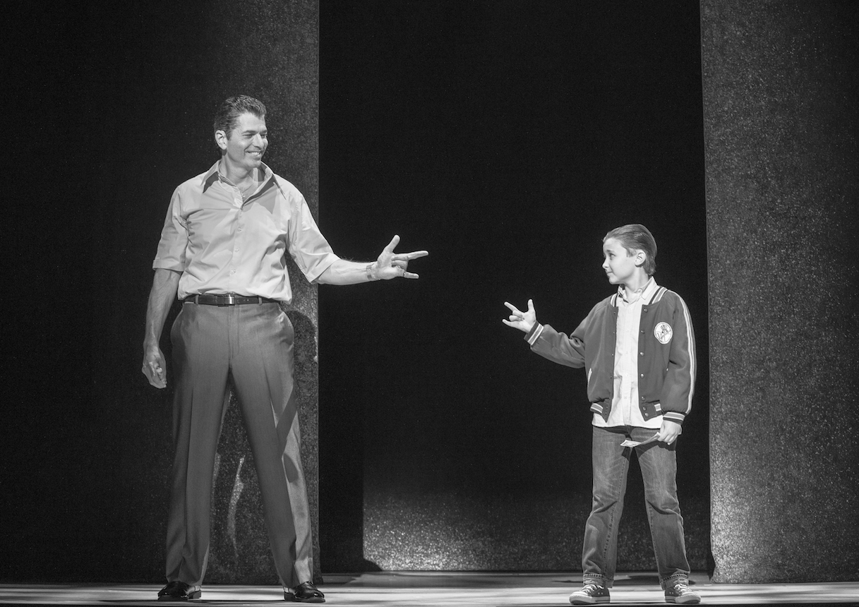 "Joe Barbara in the role of ""Sonny"" and Frankie Leoni in the role of ""Young Calogero"""