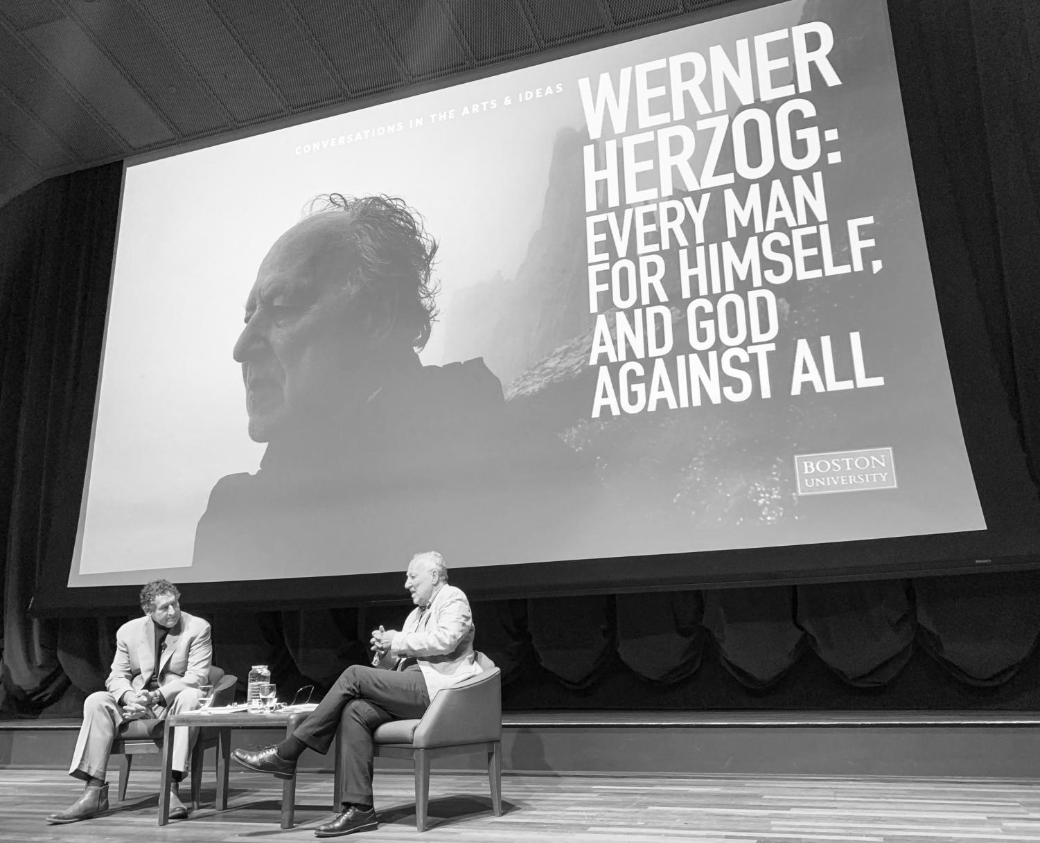 Herzog being interviewed by Golder