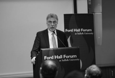 Marty Baron addresses the crowd during his visit to the Ford Hall Forum at Suffolk