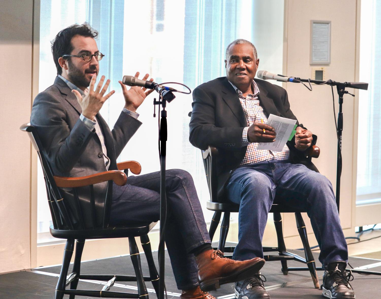 (From left) Author Jonathon Safran Foer and Steve Curwood of NPR's environmental news program,