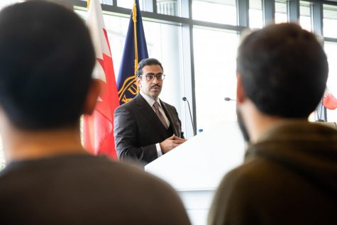 Bahrain Ambassador Abdullah bin Rashid Al Khalifa speaks to Suffolk community and meets with students