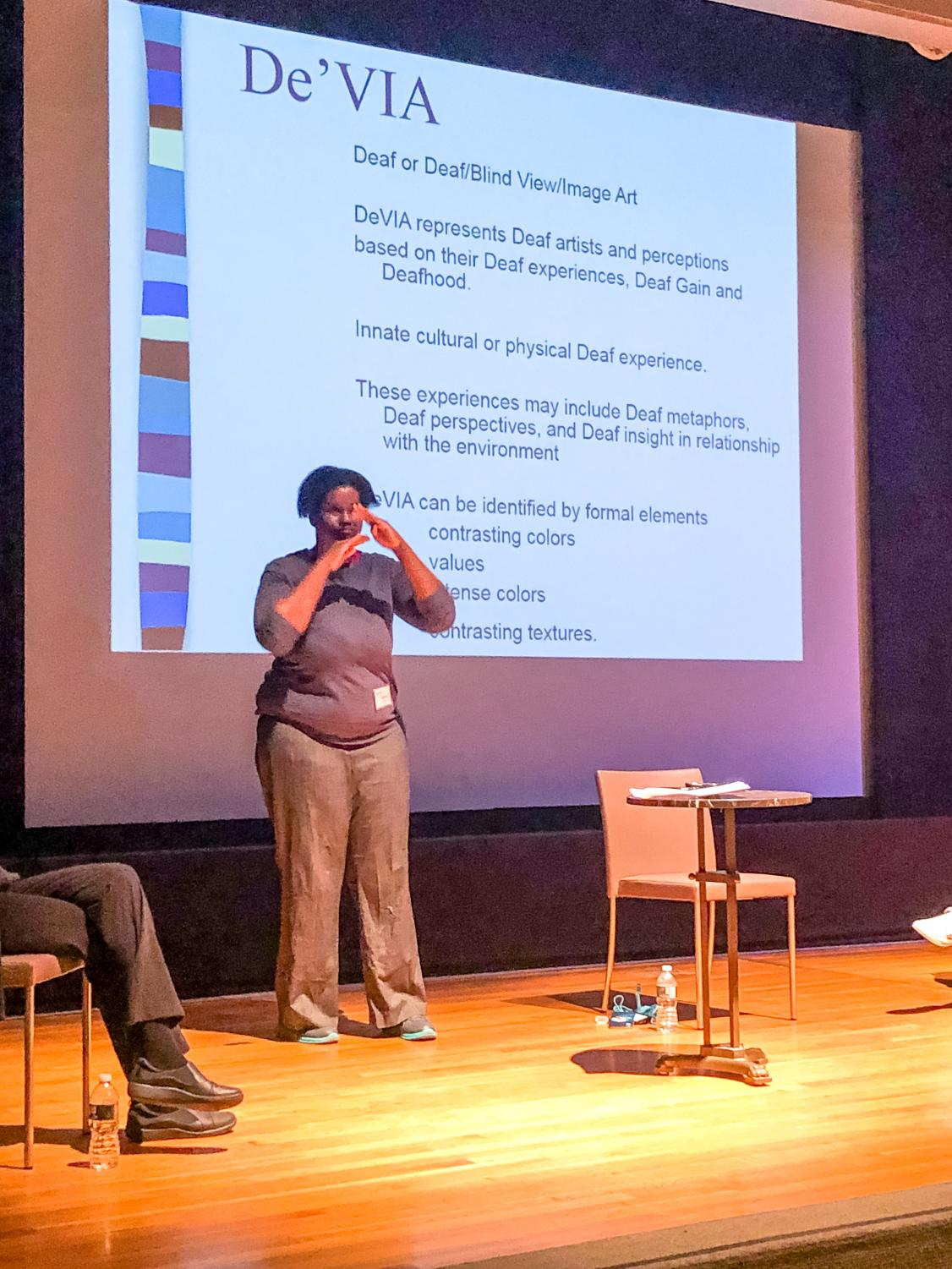 One of the panelists presents at the Third Annual American Sign Language Night