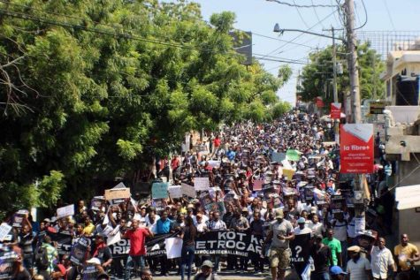Protestors crowd the streets in Haiti in response to government corruption