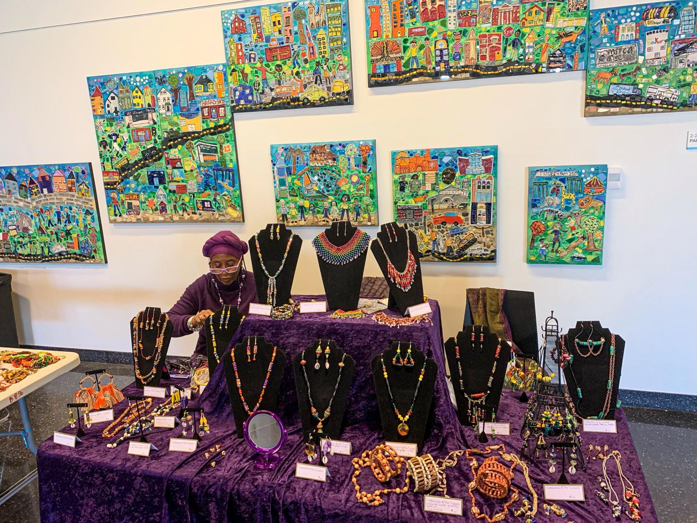 Jewelry display at Caribbean Culture, Cuisine & Art Expo in Roxbury