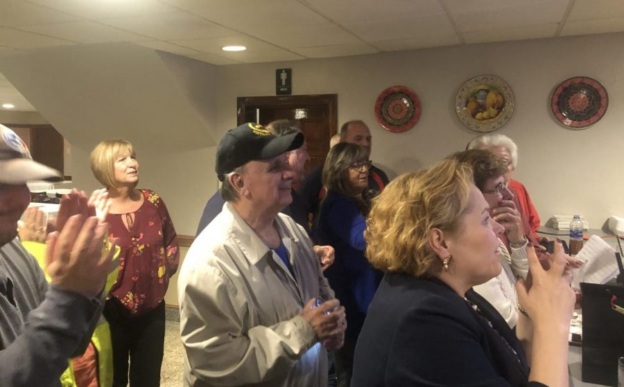 Supporters of City Councilor- elect Linda Pereira watch election results come in at TA Resturaunt in  Fall River, Massachusetts