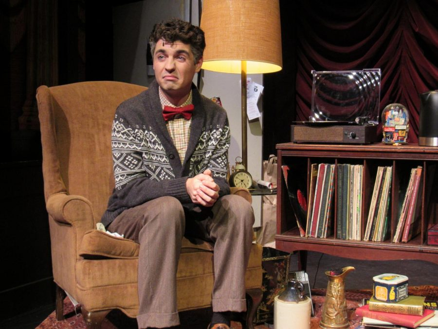 "Lafferty acting during a scene from ""The Drowsy Chaperone"""