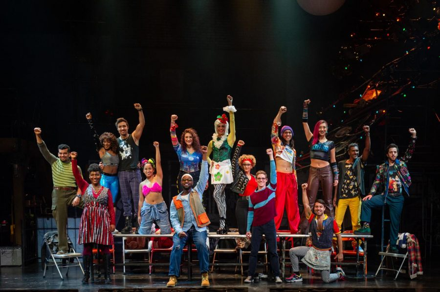 The+company+of+%E2%80%9CRent%E2%80%9D+gathers+at+center+stage+to+strike+a+pose+for+the+Boch+Center+Shubert+Theatre+at+the+end+of+a+song