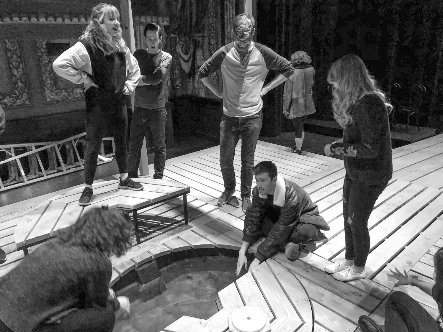 The cast hard at work during one of the dress rehearsals