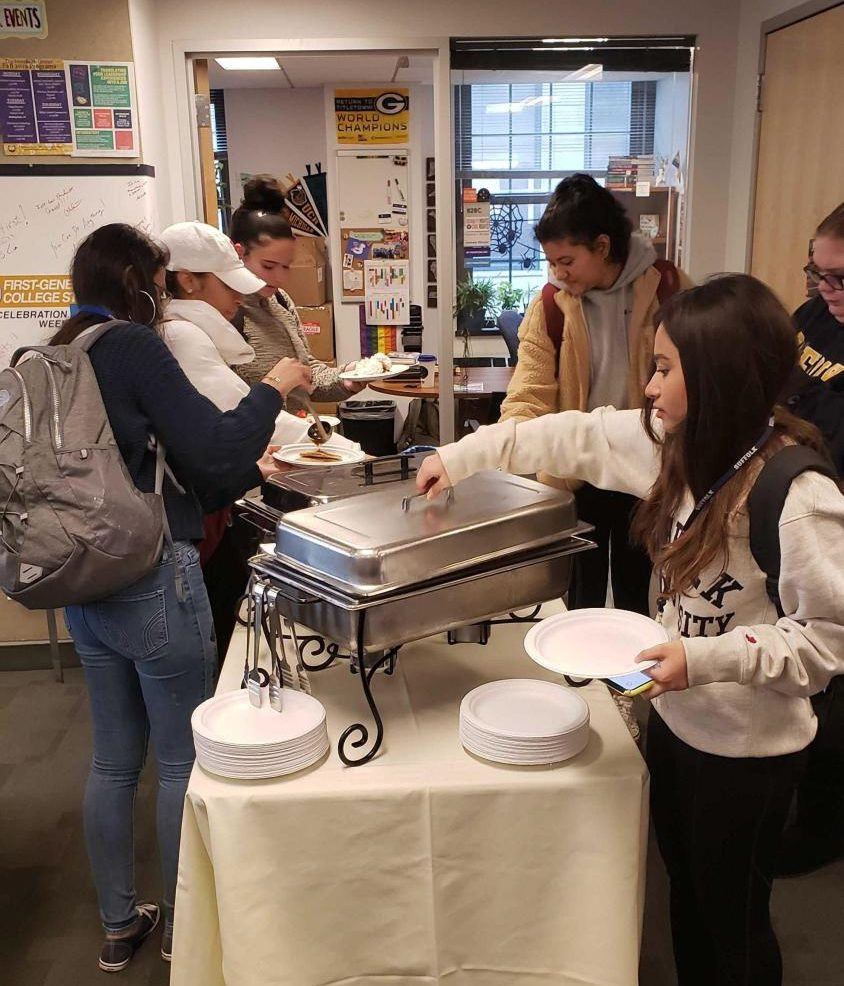 "Students eat pancakes at the First-Gen ""I Flippin' Think You're Amazing"" breakfast"