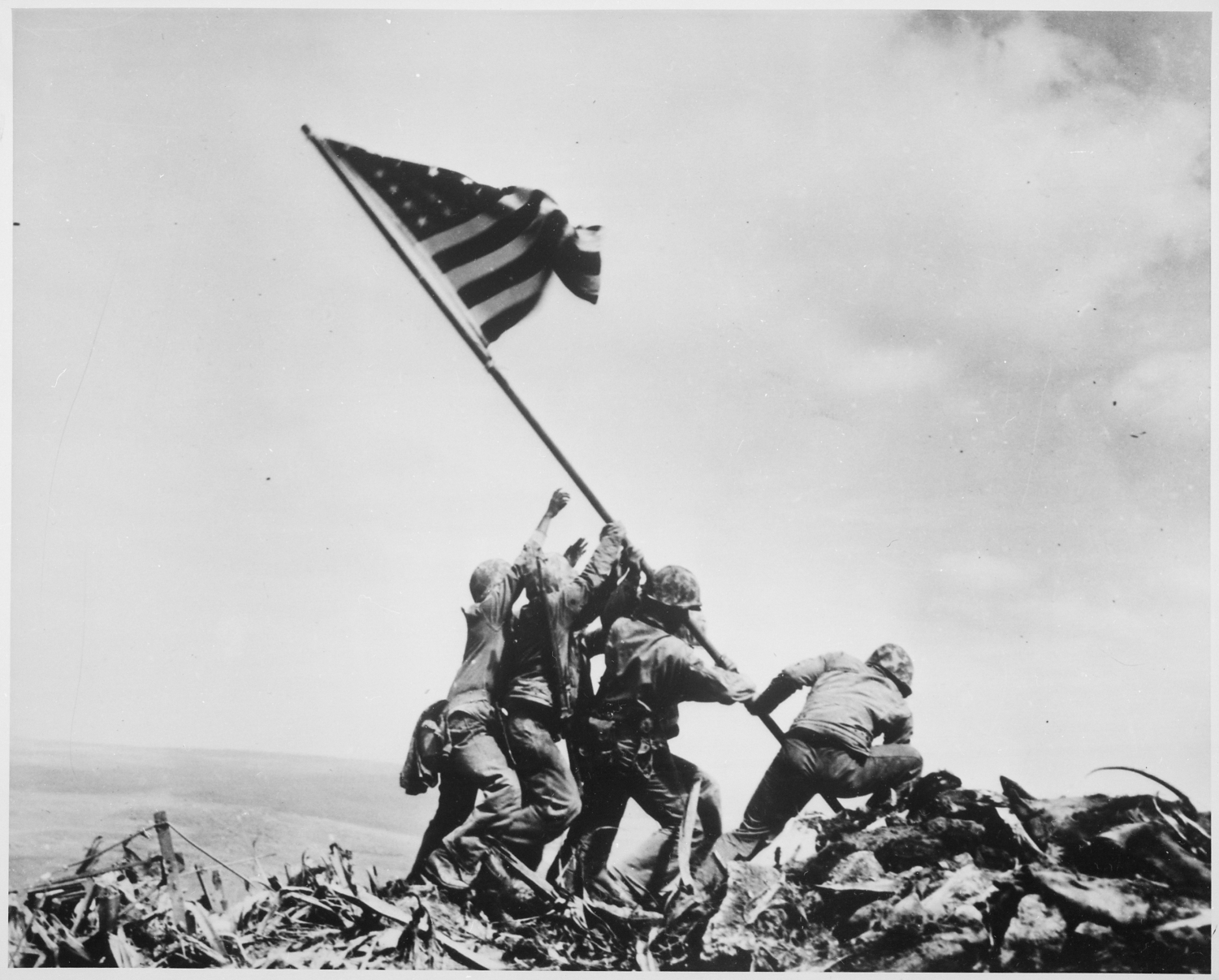 "American soldiers ""Raising the Flag on Iwo Jima,"" by Joe Rosenthal, Feb. 23, 1945"