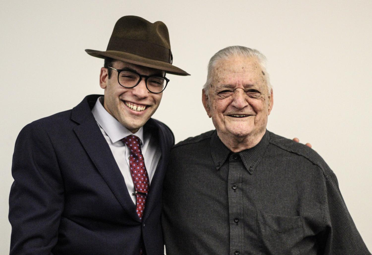 Emilio Guido (right) and Theofanis Orfanos pose for a picture after showcasing Guido's recent documentary