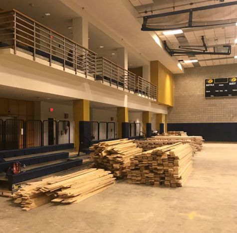 At the Larry E. Smith and Michael F. Smith Gymnasium, new materials (shown above)  have arrived to replace the floor. The replacement is expected to be finished Feb. 10th.