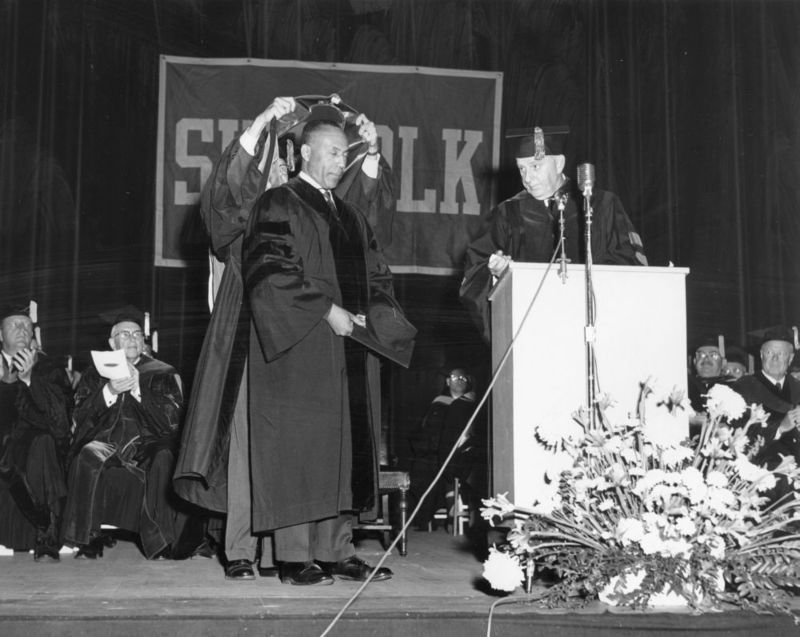 Judge Ivorey Cobb receives an honorary degree from Suffolk in 1965