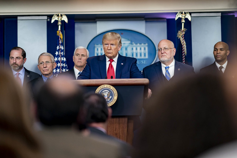 President Donald Trump at a Feb. 29 press conference about the coronavirus.