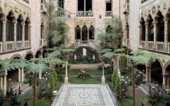 The courtyard inside the Isabella Stewart Gardner Museum