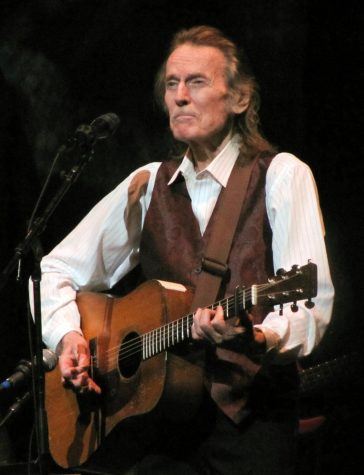 Acclaimed singer-songwriter Gordon Lightfoot accompanying himself on acoustic guitar